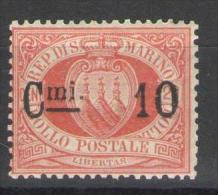 SAN MARINO 1892 CIFRA O STEMMA SOP.TI 10 C. SU 20 C. ** MNH - San Marino
