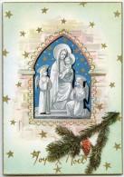 JOYEUX NOËL - Branche Et Pomme De Pin, Vierge Marie Jésus Et Deux Anges, Ogive, Bordure Dorée - Non écrite - 2 Scans - Noël