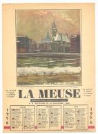 """Calendrier Du Journal """" La Meuse"""" De 1956 - LIEGE - 4 Pages (2 Volets) -Très Bon état - Calendriers"""