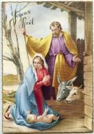 JOYEUX NOEL Bordure Dorée - La Vierge Marie, Joseph Et Jésus - L'âne Et Le Bœuf - Non écrite - 2 Scans - Noël