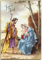 JOYEUX NOEL Bordure Dorée - La Vierge Marie Tient L'enfant Jésus Dans Ses Bras, Joseph Regarde - Non écrite - 2 Scans - Noël