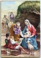 JOYEUX NOEL Bordure Dorée - Bergers Et Moutons En Adoration Devant Jésus, Flûte, Sainte Vierge - Non écrite - 2 Scans - Noël