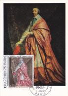 Carte Maximum FRANCE  N°Yvert 1766 (RICHELIEU Par Ph. De CHAMPAIGNE) Obl Sp Ill Arphila 75 (Ed Braun) - 1970-79