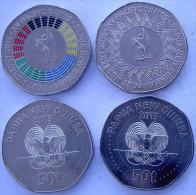 PAPUA NUOVA GUINEA 2015 SERIE 2 MONETE DA 50 TOEA 1 COLORATA PACIFIC GAME UNC - Monete