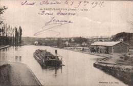 89 SAINT FLORENTIN LE PORT BATEAU PLAT TRANSPORT DE BOIS CIRCULEE 1915 - Saint Florentin
