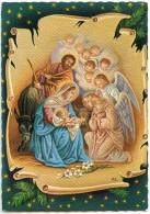 La Nativité  - Des Anges Et Têtes Ailées En Adoration Devant Jésus - Marie Joseph, Fleur De Lys - Non écrite - 2 Scans - Noël