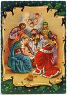 La Nativité  - Les Rois Mages Offrent Des Présents à Jésus - Fond Parchemin, Têtes Ailées, Marie - Non écrite - 2 Scans - Noël