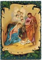 La Nativité  - Jésus Sur La Paille, Vierge Marie, Joseph, âne Et Bœuf Têtes Ailées Fond Parchemin - Non écrite - 2 Scans - Noël