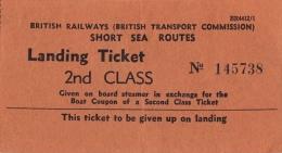 Grande-Bretagne - British Transport Commission - Landing Ticket - Très Bon état - Titres De Transport