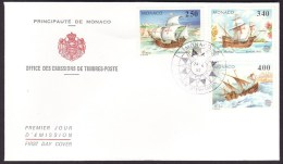 Monaco #1814-16 F-VF First Day Cover - Columbus, Ships - Christopher Columbus