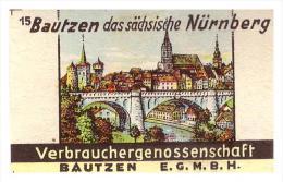 Altes Etikett Von Streichholzschachtel ,um 1940 , Bautzen !!! 56x35mm , Streichhölzer , Matchbox Label - Zündholzschachteln