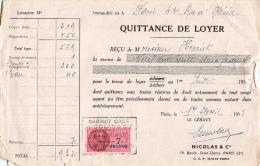 Quittance De Loyer Avec Son Timbre Fiscal - 1953 - Vieux Papiers