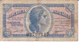 BILLETE DE ESPAÑA DE LA REPUBLICA ESPAÑOLA DE 50 CTS DEL AÑO 1937  RC SERIE  B - Zonder Classificatie