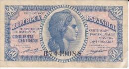 BILLETE DE ESPAÑA DE 50 CTS DEL AÑO 1937 MBC LETRA B  (BANKNOTE) - [ 2] 1931-1936 : República