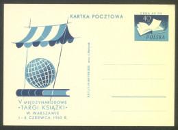 Poland 1960 International Book Fair Illustrated Postal Stationery Postcard Unused B151202 - Stamped Stationery