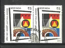 INDIA, 2010, FIRST DAY CANCELLED, PAIR,  Lalit Kala Academy, New Delhi, Art, Painting, Theatre, Bulb - India