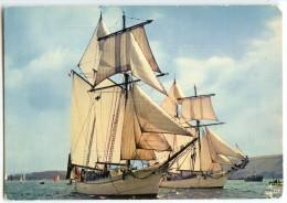 Goélettes De La Marine Nationale «L´ETOILE» Et La «BELLE POULE» - écrite Et Timbrée - 2 Scans - Bretagne