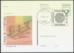 Slovenija 2004 Idrija Lace Embroidery Festival Illustrated Postal Stationery Postcard And Pmk B151202 - Textile
