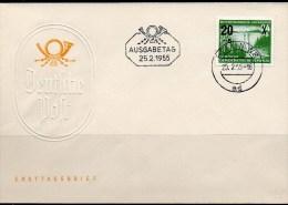 Hochwasser 1955 DDR 449 AD FDC 4€ Talsperre Sosa Staumauer In Thüringen Auf Ersttagsbrief Overprint Cover Of Germany - Covers & Documents
