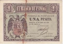 BILLETE DE 1 PTA DEL 30 ABRIL 1938 SERIE A CALIDAD BC  (BANKNOTE) - [ 3] 1936-1975 : Régence De Franco