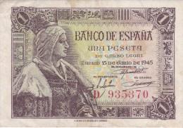 BILLETE DE ESPAÑA DE 1 PTA DEL 15/06/1945 ISABEL LA CATÓLICA SERIE D (BANK NOTE) - [ 3] 1936-1975 : Régence De Franco
