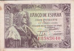 BILLETE DE ESPAÑA DE 1 PTA DEL 15/06/1945 ISABEL LA CATÓLICA SERIE F (BANK NOTE) - [ 3] 1936-1975 : Régence De Franco