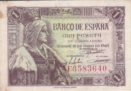 BILLETE DE ESPAÑA DE 1 PTA DEL 15/06/1945 ISABEL LA CATÓLICA SERIE F (BANK NOTE) - 1-2 Pesetas
