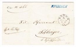 Heimat AG Windisch Belkenstempel Blau 15.7.1864 Brugg Brief Nach Siblingen Rücks. Zugstempel Zürich Romanshorn - 1862-1881 Sitzende Helvetia (gezähnt)