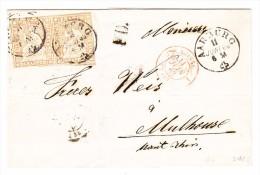 Heimat AG Aarburg 11.6.1863 Einkreisst. Mit Waagr. Paar 20Rp. Strubel Brief (ohnen Inhalt) Nach Mulhouse - Lettres & Documents
