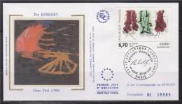 =Kirkeby Danemark Enveloppe 1er Jour Paris 23.9.95 N°2969 Série Européenne D'art Contemporain, Oeuvre Originale - 1990-1999