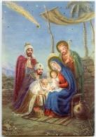 JOYEUX NOËL - Les Rois Mages Se Prosternent Devant L'enfant Jésus, Dans Le Ciel L'Étoile De Noël - Non écrite - 2 Scans - Autres