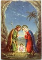 JOYEUX NOËL - A L'entrée D'une Caverne L´Enfant Jésus Sur Un Lit De Paille, Joseph Et Marie - Non écrite - 2 Scans - Noël