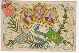 Uruguay Tarjeta Postal President Batlle 1903 Asumption Brazil &  Argentina Flags Politics Postcard Cpa Ak (W4_1768) - Uruguay