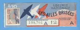 Billet  Loterie Nationale - Les Ailes Brisées - 1ère Tranche 1951 - 1/10 ème - Billets De Loterie