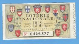 Billet  Loterie Nationale - 100 Francs - 5ème Tranche 1938 - Billets De Loterie