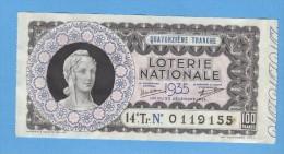 Billet  Loterie Nationale - 100 Francs - 14ème Tranche 1935 - Billets De Loterie