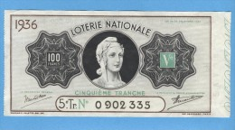 Billet  Loterie Nationale - 100 Francs - 5ème Tranche 1936 - Billets De Loterie