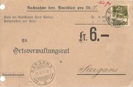 "NN Karte  ""Amtsblatt St.Gallen"" - Sargans              1917 - Lettres & Documents"