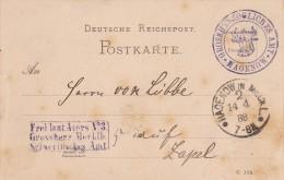 DR Dienst: Grossherzogl. Amt Hagenow 1888 Nach Zapel - Dienstpost