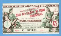 Billet  Loterie Nationale - Société D'encouragement - 13ème Tranche 1940 - 1/10ème - Billets De Loterie