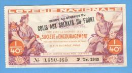 Billet  Loterie Nationale - Société D´encouragement - 3ème Tranche 1940 - 1/40ème - Billets De Loterie