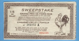 Billet Loterie - Sweepstake - Grand Prix De Paris 1935 - 1/5 - Billets De Loterie