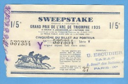 Billet Loterie - Sweepstake - Prix De L´Arc De Triomphe 1935 - 1/5 - Billets De Loterie