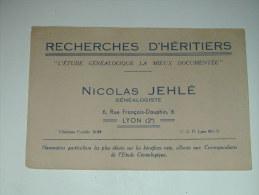 BUVARD Publicité  GENEALOGIE NICOLAS JEHLE - Buvards, Protège-cahiers Illustrés