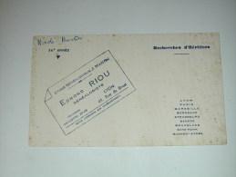 BUVARD Publicité  ETUDE GENEALOGIE J.MARTIN Edmond RIOU - Buvards, Protège-cahiers Illustrés