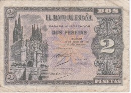 BILLETE DE ESPAÑA DE 2 PTAS  DEL AÑO 1938 SERIE D CALIDAD BC  (BANKNOTE) - [ 3] 1936-1975 : Régimen De Franco
