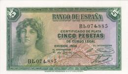 BILLETE DE ESPAÑA DE 5 PTAS DEL AÑO 1935 SERIE B (BANKNOTE) SIN CIRCULAR-UNCIRCULATED - 5 Pesetas