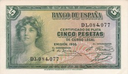 BILLETE DE ESPAÑA DE 5 PTAS DEL AÑO 1935 SERIE D (BANKNOTE) SIN CIRCULAR-UNCIRCULATED - [ 2] 1931-1936 : République
