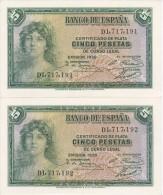 PAREJA CORRELATIVA DE 5 PTAS DEL AÑO 1935 SERIE D SIN CIRCULAR-PLANCHA-UNCIRCULATED - [ 2] 1931-1936 : Republic