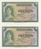 PAREJA CORRELATIVA DE 5 PTAS DEL AÑO 1935 SERIE D SIN CIRCULAR-PLANCHA-UNCIRCULATED - [ 2] 1931-1936 : Republiek